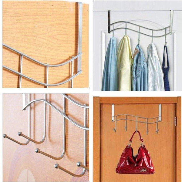Discover the over the door hanger for kitchen tools heavy duty wall storage organizer racks with 5 hooks metal hanging bathroom jewelry closet holder backpack space saver for towel coat jacket robes chrome
