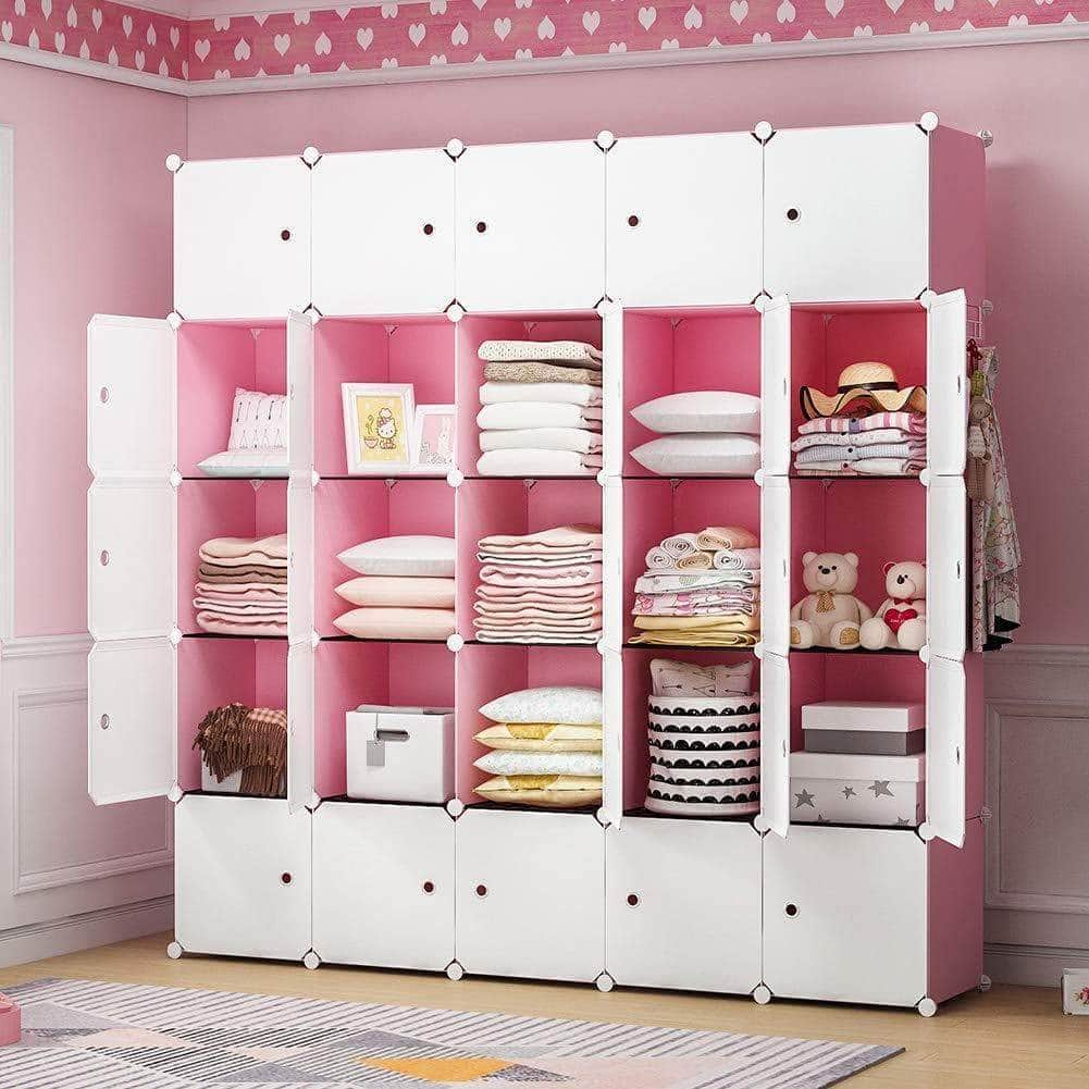 Related yozo modular closet cloth storage organizer portable kids wardrobe chest of drawer ube shelving unit multifunction toy cabinet bookshelf diy furniture pink 25 cubes