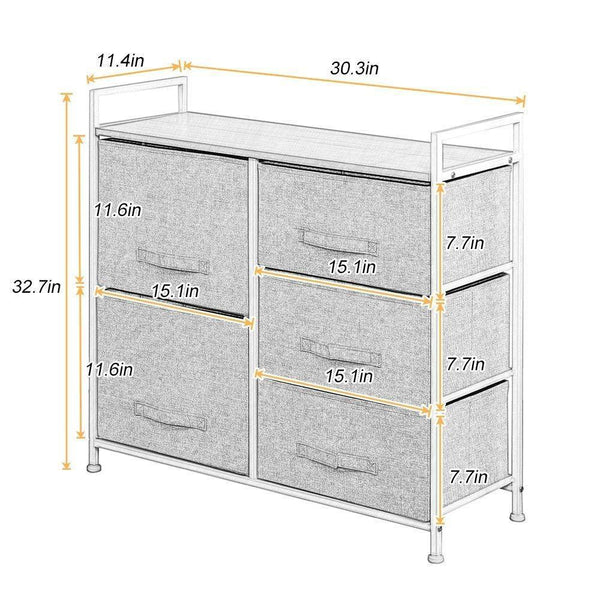 Shop soges 5 drawer storage organizer unit for bedroom play room closets entryway free standing rack metal frame with fabric bin beige 107 bm