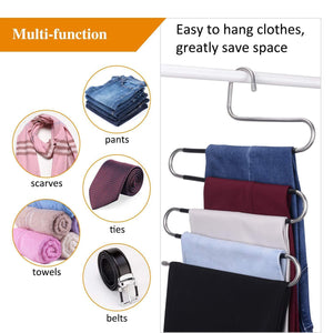Exclusive ieoke pant hangers durable slack hangers multi layers stainless steel space saving clothes hangers closet storage for jeans trousers 4 pack