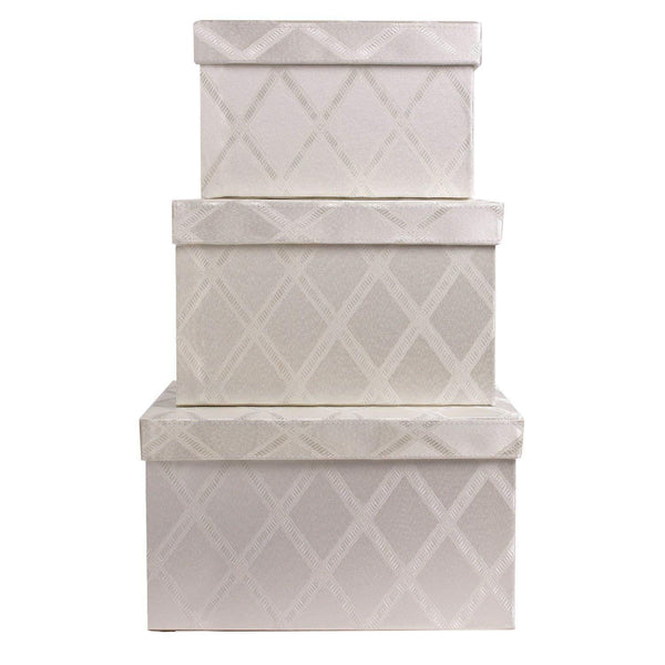 Storage toys storage bins 3 pcs set fabric decorative storage boxes with lids shelf closet organizer basket decor nesting boxes stylish gift boxes with lids large medium small sizes off white