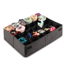 Load image into Gallery viewer, New mifxin underwear socks storage organizer drawer divider 30 cell foldable closet drawer organizer storage box bin for socks bras underwear ties with dust moisture proof cover black