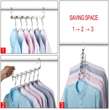 Load image into Gallery viewer, Save bloberey space saving hangers metal wonder magic cascading hanger 10 inch 6 x 2 slots closet clothing hanger organizers pack of 20