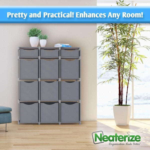 Discover neaterize 12 cube organizer set of storage cubes included diy cubby organizer bins cube shelves ladder storage unit shelf closet organizer for bedroom playroom livingroom office grey
