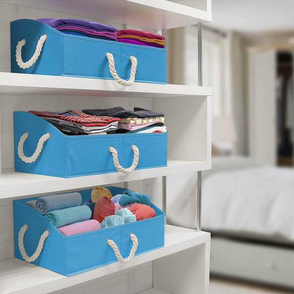 Discover sorbus trapezoid storage bin box basket set foldable with cotton rope carry handles great for closet clothes linens toys nursery non woven fabric trapezoid bin blue