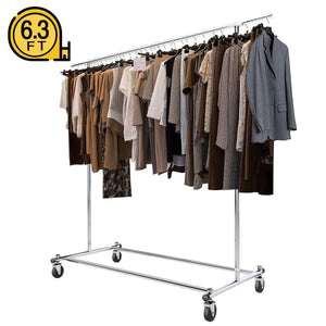 Buy bigroof clothing rack 6 3ft heavy duty clothes rack free standing garment rack on wheels commercial portable closet jacket coat rack rolling drying racks for hanging drying clothes