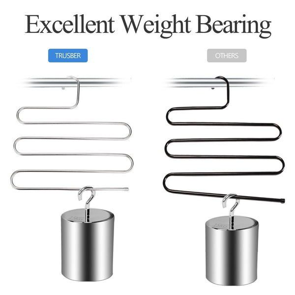 Amazon trusber stainless steel pants hangers s shape metal clothes racks with 5 layers for closet organization space saving for pants jeans trousers scarfs durable and no distortion silver pack of 4