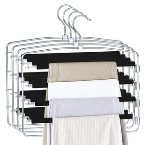 On amazon homeideas pack of 4 non slip pants hangers stainless steel slack hangers space saving clothes hangers closet organizer with foam padded swing arm multi layers rotatable hook