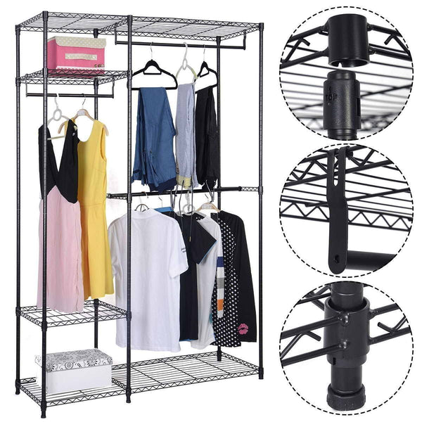 Online shopping s afstar safstar heavy duty clothing garment rack wire shelving closet clothes stand rack double rod wardrobe metal storage rack freestanding cloth armoire organizer 2 packs