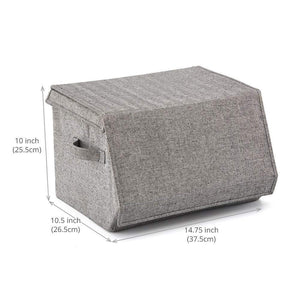 Save ezoware 2 pack stackable storage bins with lids and handles linen fabric foldable storage cubes bin box containers for home office nursery closet bedroom living room