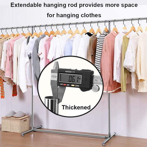 Reliancer Heavy Duty Large Garment Rack Stainless Steel Clothes Drying Rack Commercial Grade Extendable 47-77inch Clothes Rack Adjustable Clothes Hanger Rolling Rack with 4 Casters Tool Golves 10 Hook
