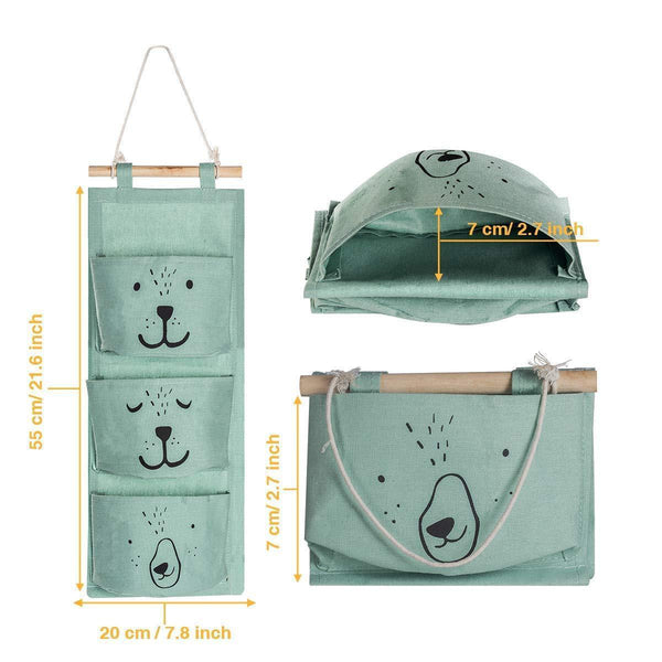 Shop for aitsite 2 pcs wall hanging storage bag cartoon over the door closet organizer linen fabric organizer with 3 semicircular pockets for bedroom bathroom kitchen cyan grey