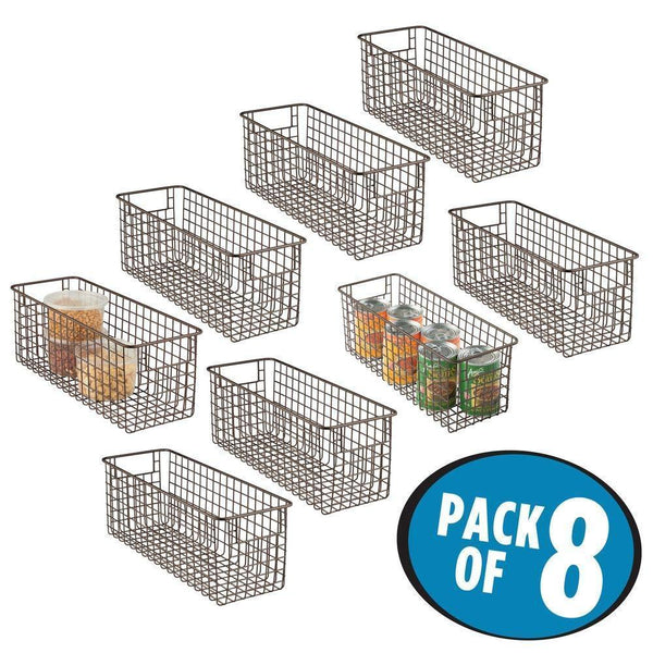 Featured mdesign farmhouse decor metal wire food storage organizer bin basket with handles for kitchen cabinets pantry bathroom laundry room closets garage 16 x 6 x 6 8 pack bronze