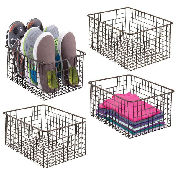 Explore mdesign farmhouse vintage metal wire storage basket bin with handles for organizing closets shelves and cabinets in bedrooms bathrooms entryways and hallways 4 pack bronze