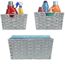 Load image into Gallery viewer, The best sorbus woven basket bin set storage for home decor nursery desk countertop closet cube organizer shelf stackable baskets includes built in carry handles set of 3 light gray