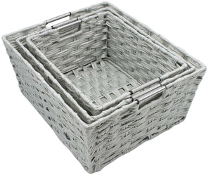 Top rated sorbus woven basket bin set storage for home decor nursery desk countertop closet cube organizer shelf stackable baskets includes built in carry handles set of 3 light gray
