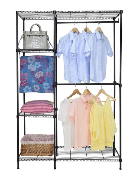 Organize with finnhomy heavy duty wire shelving garment rack for closet organizer portable clothes wardrobe storage with adjustable shelves and hangers thicken steel tube black