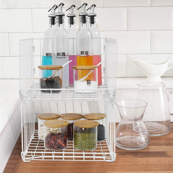 Get pup joint metal wire baskets 3 tiers foldable stackable rolling baskets utility shelf unit storage organizer bin with wheels for kitchen pantry closets bedrooms bathrooms