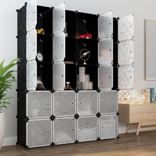 Latest langria 20 storage cube organizer wardrobe modular closet plastic cabinet cubby shelving storage drawer unit diy modular bookcase closet system with doors for clothes shoes toys black and white