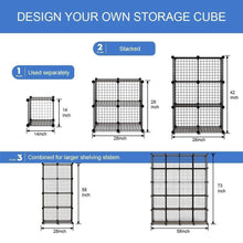 Load image into Gallery viewer, Storage organizer kousi wire storage cubes modular metal cubbies organizer customizable metal rack cloths closet cubes storage shelves multifuncation shelving unit 8 cubes 4 hanging sections