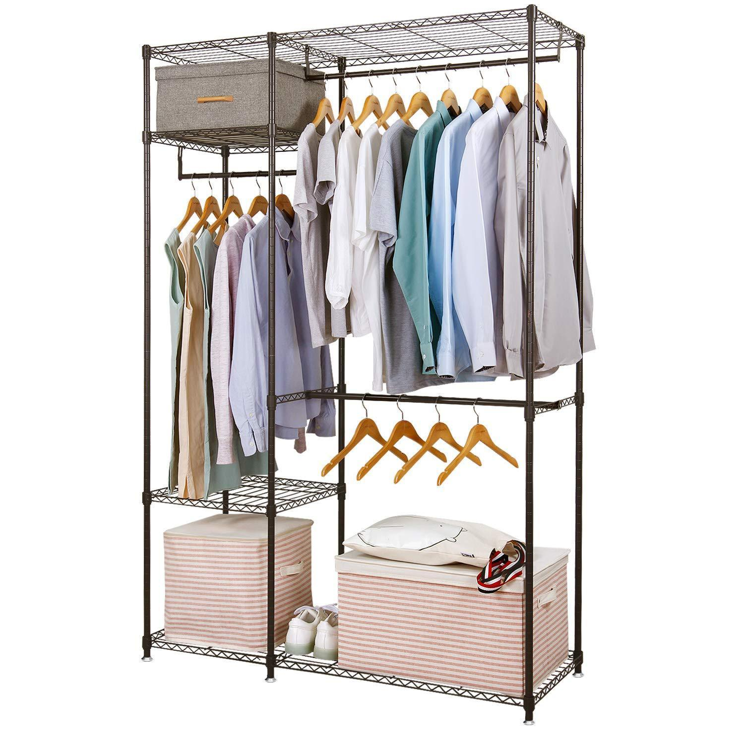 Featured lifewit portable wardrobe clothes closet storage organizer with hanging rod adjustable legs quick and easy to assemble large capacity dark brown