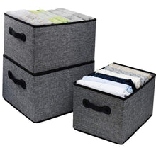 Load image into Gallery viewer, Discover homyfort cloth collapsible storage bins cubes 15 7x11 8x9 8 linen fabric basket box cubes containers organizer for closet shelves with leather handles set of 3 grey
