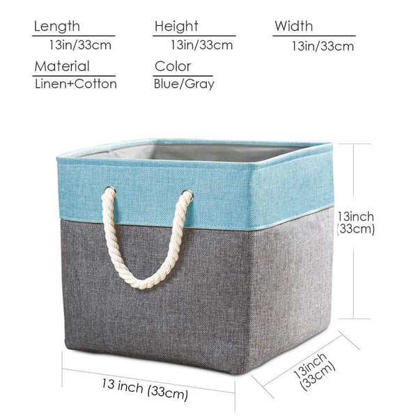 Related prandom large foldable cube storage baskets bins 13x13 inch 3 pack fabric linen collapsible storage bins cubes drawer with cotton handles organizer for shelf toy nursery closet bedroomgray blue