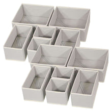 Load image into Gallery viewer, Great diommell foldable cloth storage box closet dresser drawer organizer fabric baskets bins containers divider with drawers for baby clothes underwear bras socks lingerie clothing set of 12 grey 444