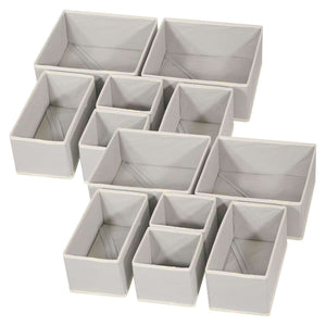 Great diommell foldable cloth storage box closet dresser drawer organizer fabric baskets bins containers divider with drawers for baby clothes underwear bras socks lingerie clothing set of 12 grey 444