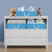 Load image into Gallery viewer, Cheap sorbus trapezoid storage bin box basket set foldable with cotton rope carry handles great for closet clothes linens toys nursery non woven fabric trapezoid bin blue