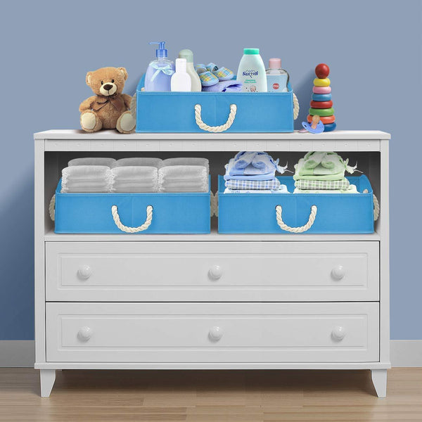 Cheap sorbus trapezoid storage bin box basket set foldable with cotton rope carry handles great for closet clothes linens toys nursery non woven fabric trapezoid bin blue