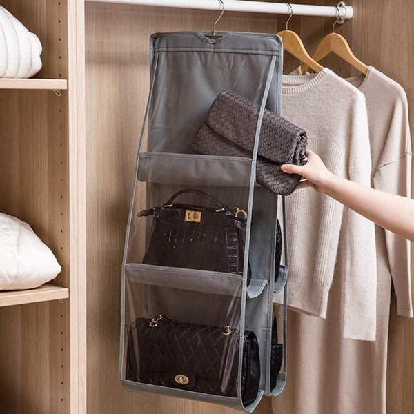 Discover the dearjana wardrobe hanging handbag organizer 6 large pockets dust proof bag storage purse handbag tote bag holder organizer for closet bedroom