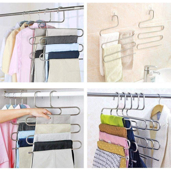 Top 4 pack s type hanger for clothing closet storage stainless steel pants hangers with 5 layers multi purpose loveyal limited space storage rack for trousers towels scarfs ties jeans 4