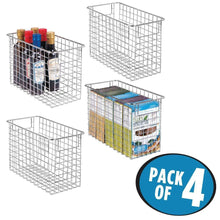 Load image into Gallery viewer, Top rated mdesign household metal wire storage organizer bins basket with handles for kitchen cabinets pantry bathroom landry room closets garage 4 pack 12 x 6 x 8 chrome