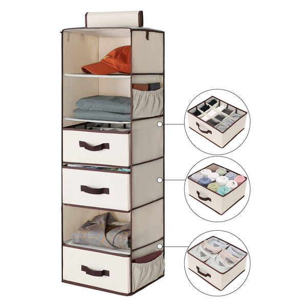 Save storageworks 6 shelf hanging dresser foldable closet hanging shelves with 2 magic drawers 1 underwear socks drawer 42 5h x 13 6w x 12 2d
