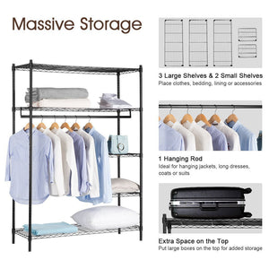 Results langria heavy duty wire shelving garment rack clothes rack portable clothes closet wardrobe compact zip closet extra large wardrobe storage rack organizer hanging rod capacity 420 lbs dark brown