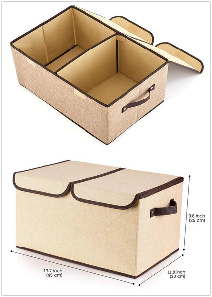 Amazon large fabric storage bins with lids and removable dividers collapsible linen storage boxes containers for toy nursery closet shelf living room bedroom organize2 pack beige