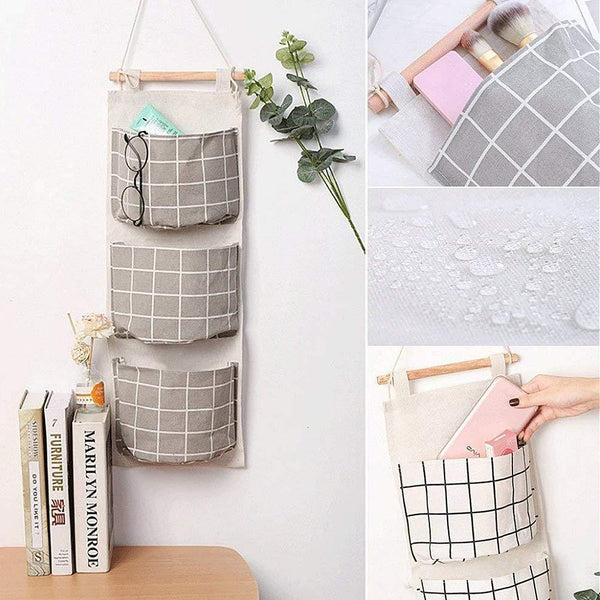 Buy gaiatop hanging storage 2 packs linen cotton fabric wall door closet hanging organizer bags with 3 pockets for living room bedroom bathroom white grey
