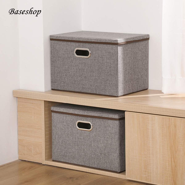 Latest storage container organizer bin collapsible large foldable linen fabric gray box with removable lid and handles for home baby office nursery closet bedroom living room no peculiar smell 1 pack