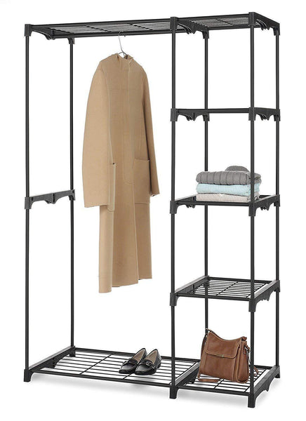 The best whitmor freestanding portable closet organizer heavy duty black steel frame double rod wardrobe cloths storage with 5 shelves shoe rack for home or office size 45 1 4 x 19 1 4 x 68