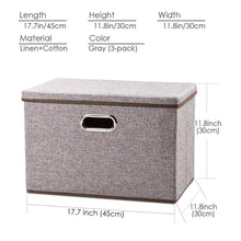 Load image into Gallery viewer, Shop prandom large collapsible storage bins with lids 3 pack linen fabric foldable storage boxes organizer containers baskets cube with cover for home bedroom closet office nursery 17 7x11 8x11 8