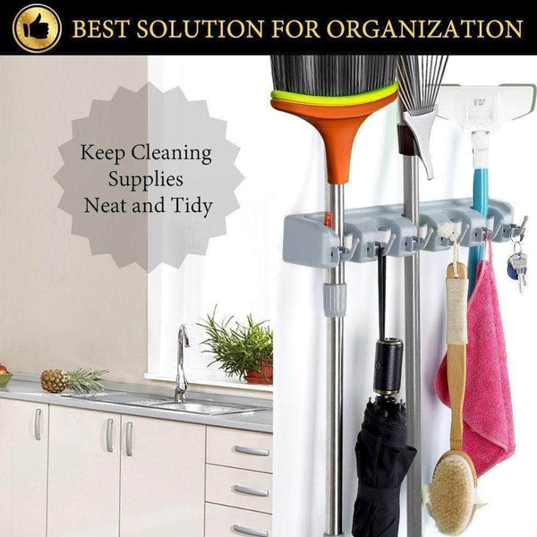 Budget friendly home neat mop and broom holder wall mount garden tool storage tool rack storage organization for the home plastic hanger for closet garage organizer shed organizer 5 position
