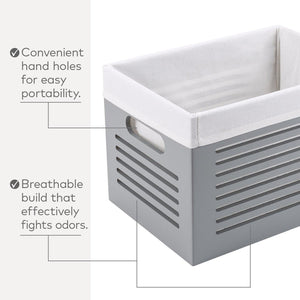 Related wooden storage box decorative closet cabinet and shelf basket organizer lined with machine washable soft linen fabric gray large