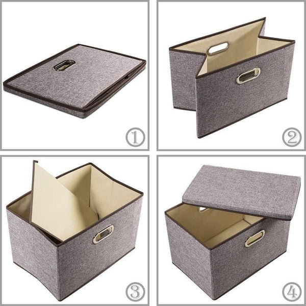 Selection prandom large collapsible storage bins with lids 3 pack linen fabric foldable storage boxes organizer containers baskets cube with cover for home bedroom closet office nursery 17 7x11 8x11 8