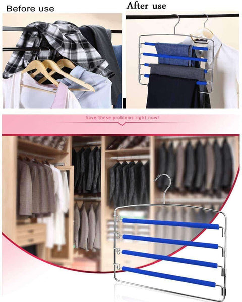 Online shopping rosinking slack hangers swing arm pants 2 pack multi layers removeable stainless steel scarf slack hangers non slip clothes rack with foam padded rotatable hook closet space saving organizer