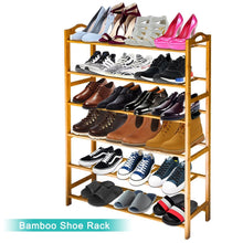 Load image into Gallery viewer, Try anko bamboo shoe rack natural bamboo thickened 6 tier mesh utility entryway shoe shelf storage organizer suitable for entryway closet living room bedroom 1 pack
