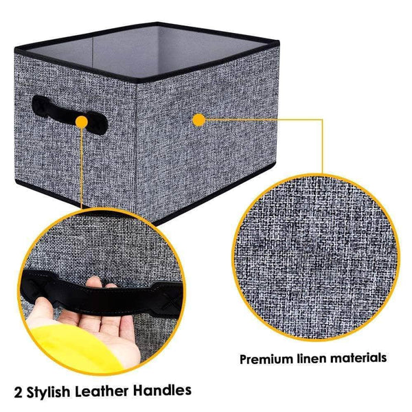 Get homyfort cloth collapsible storage bins cubes 15 7x11 8x9 8 linen fabric basket box cubes containers organizer for closet shelves with leather handles set of 3 grey