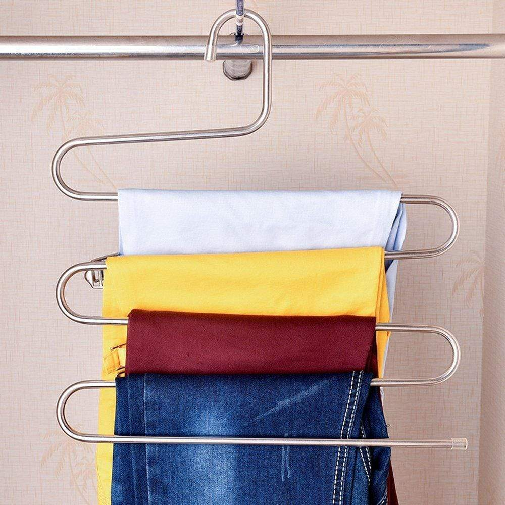 Exclusive teerfu 3 pack study pants hangers s type stainless steel trousers rack 5 layers multi purpose closet hangers magic space saver storage rack for clothes towel scarf trousers tie