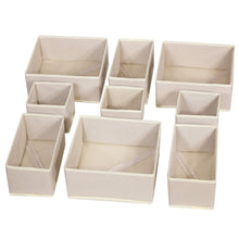 Load image into Gallery viewer, Great diommell 9 pack foldable cloth storage box closet dresser drawer organizer fabric baskets bins containers divider with drawers for baby clothes underwear bras socks lingerie clothing beige 333