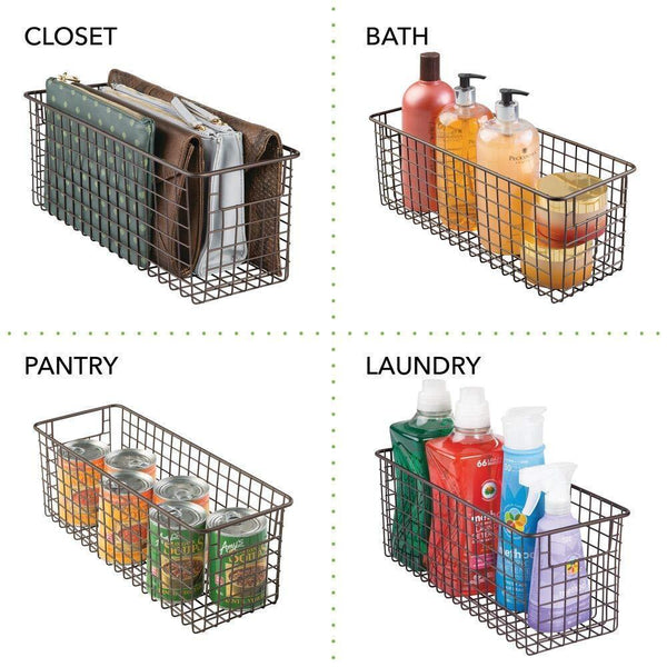 On amazon mdesign bathroom metal wire storage organizer bin basket holder with handles for cabinets shelves closets countertops bedrooms kitchens garage laundry 16 x 6 x 6 4 pack bronze